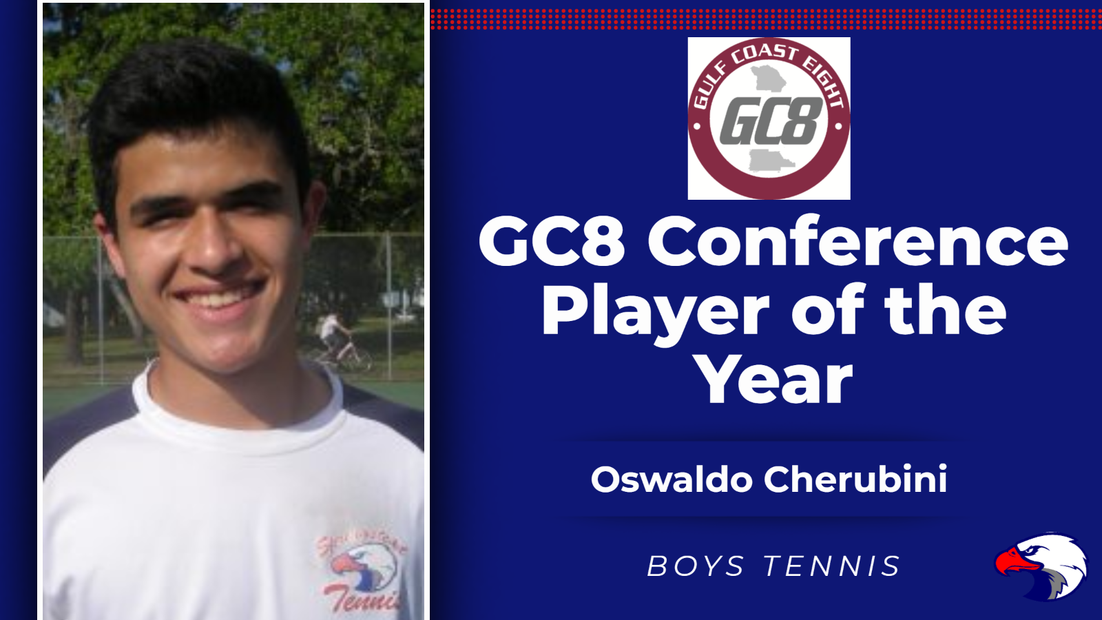 Cherubini Named GC8 Conference Boys Tennis Player of the Year