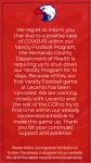 9/25 Varsity Football Game Canceled
