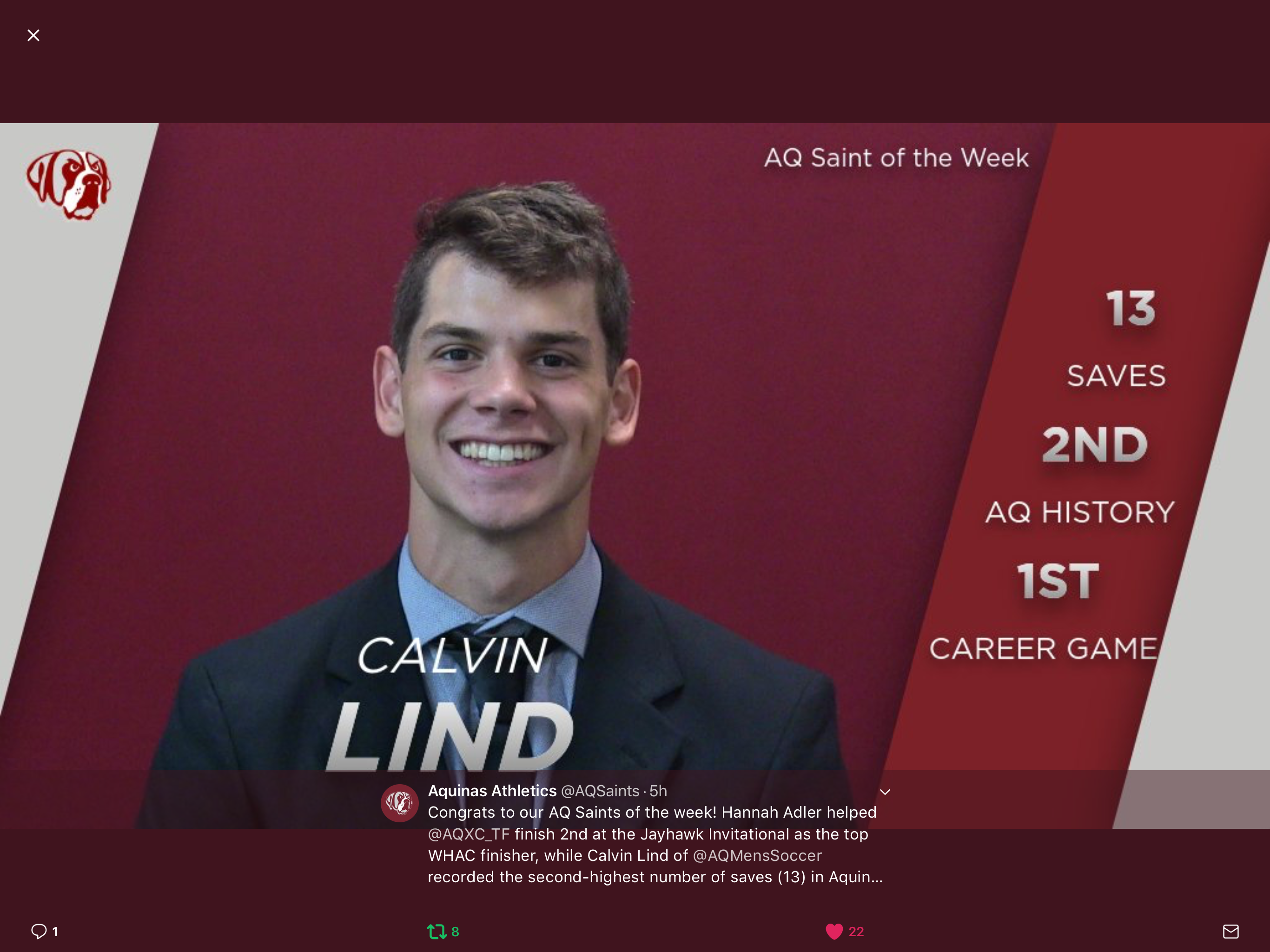 Calvin Lind 16′ has record setting career start for Aquinas College