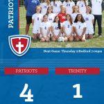 Girls Varsity Soccer beats Trinity 4 – 1