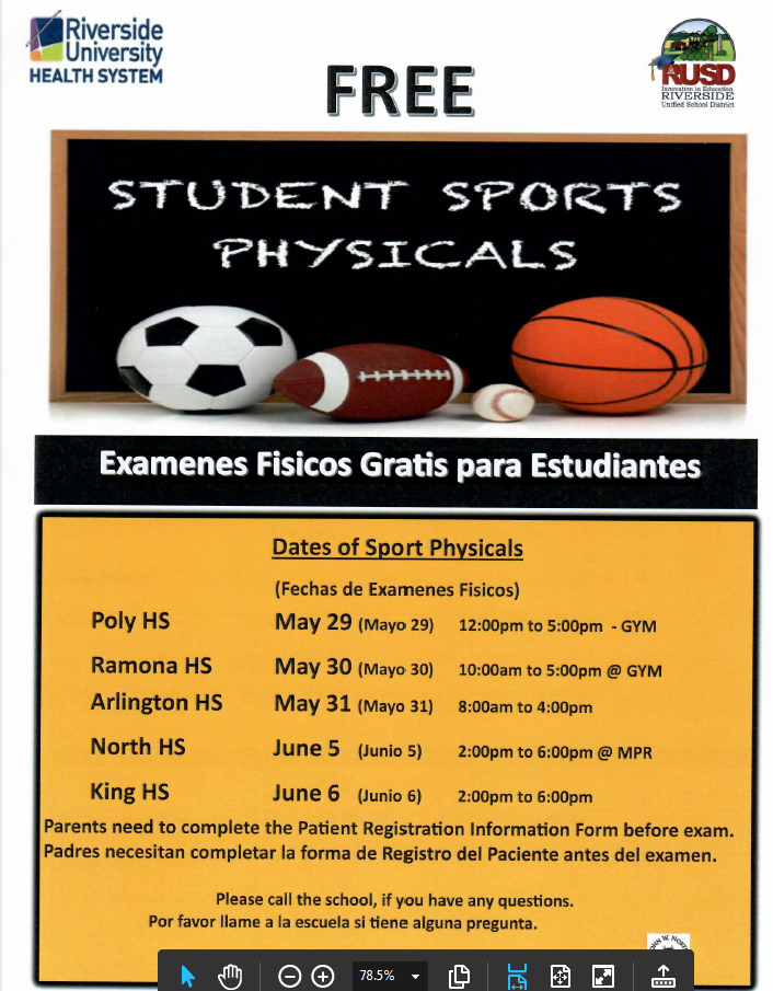 Free Physicals for Ramona and Sierra offered May 30