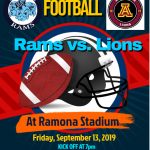 Ramona vs Arlington , Friday, Sept. 13