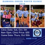 Cheer Clinic for youth ages 4-13 set for Saturday, October 5
