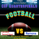 CIF Quarters:Ramona hosts Cantwell Sacred Heart on Friday, Nov 15 7:30pm