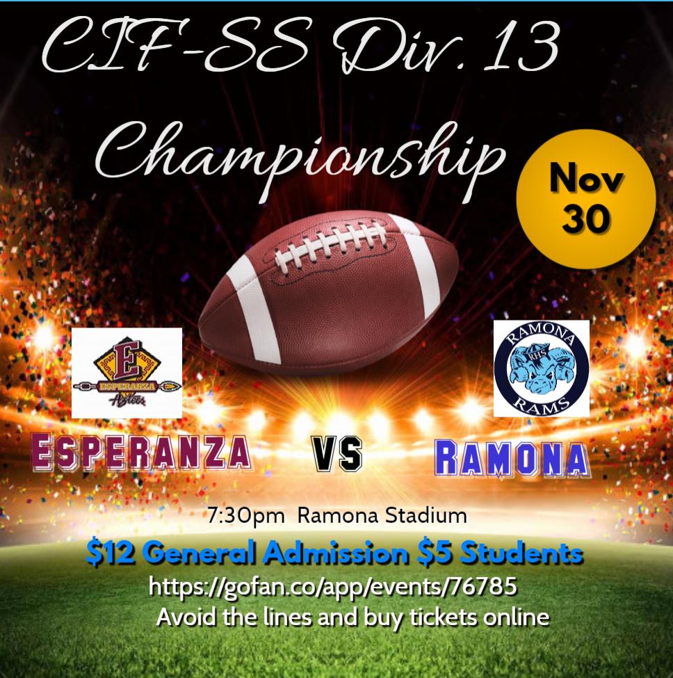 CIF Championship Game: Div 13, Esperanza at Ramona