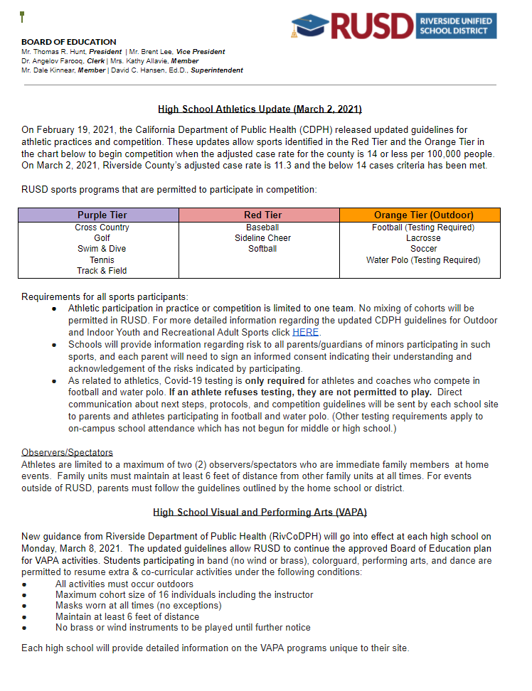 RUSD Athletics and VAPA update