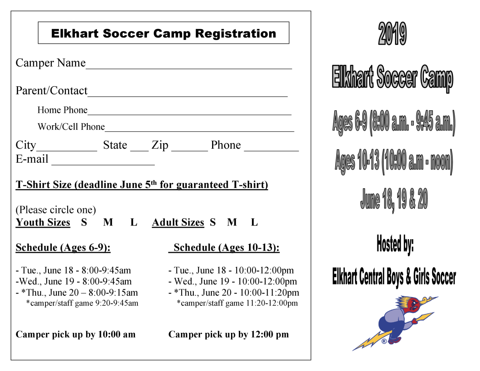 Announcing Blazer Boys & Girls Soccer Camp – Summer 2019