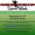 Homecoming Parade – October 21st