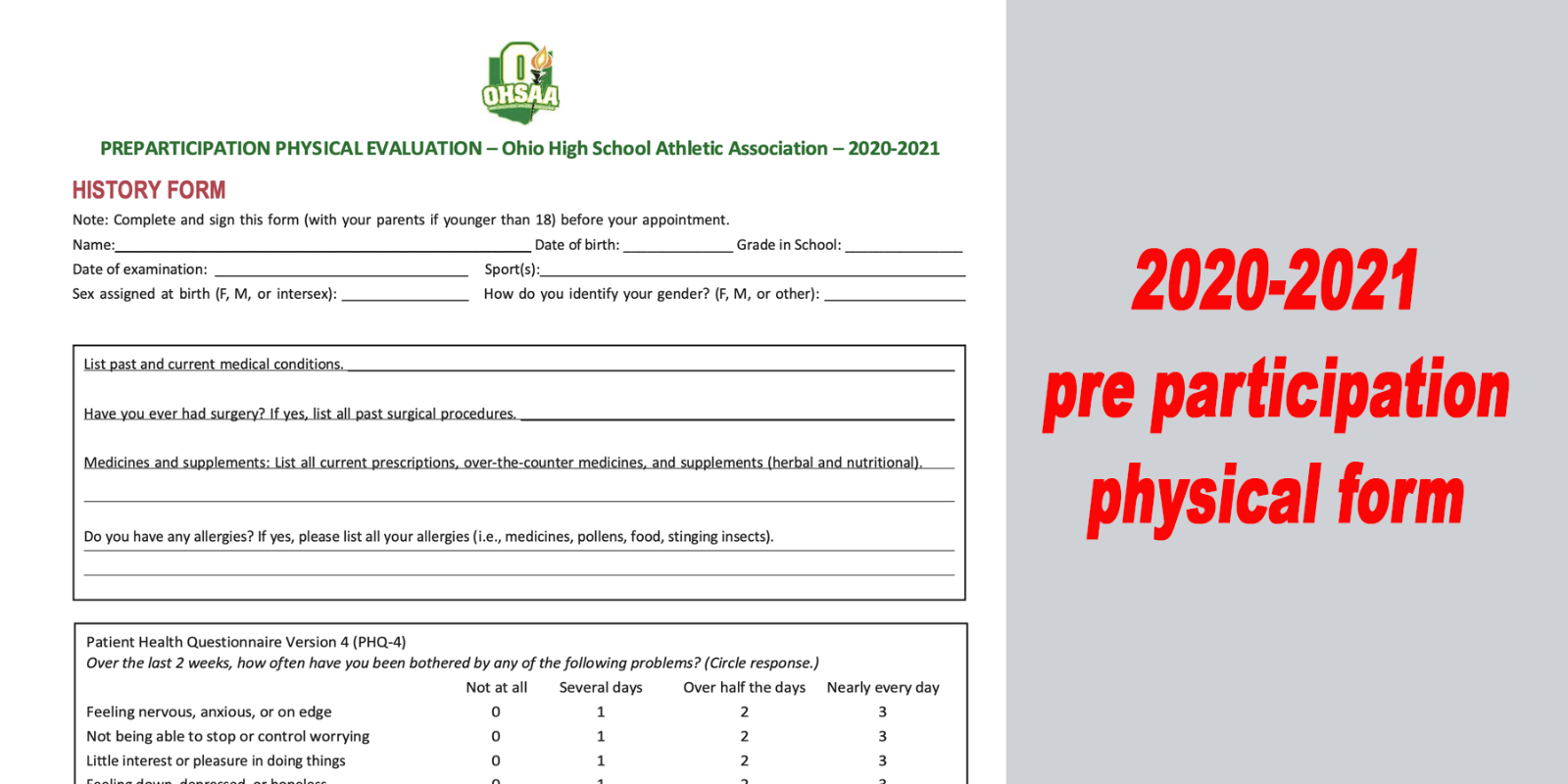 2020-2021 Athlete Pre-Participation Physical
