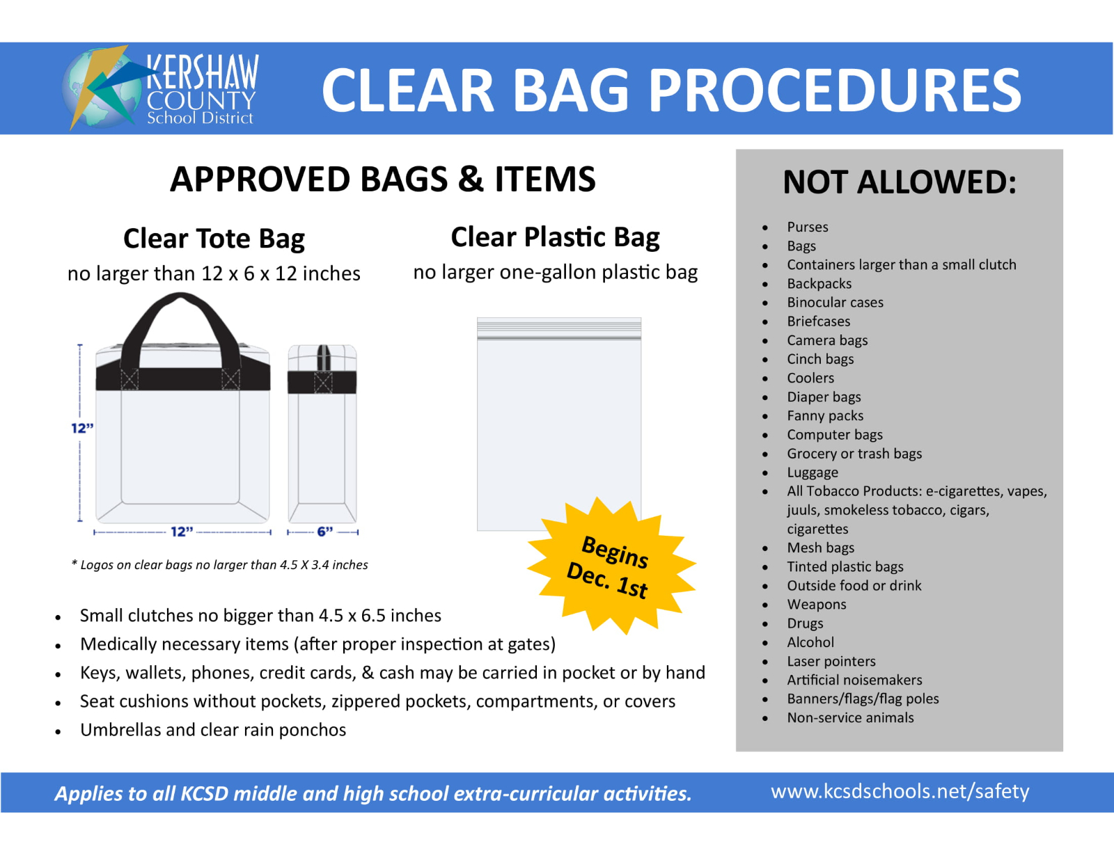 Winter Sports and Clear Bag Policy Begin This Week