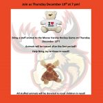 Monticello Moose hosting Teddy Bear Toss during Dec. 19 game!