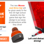 "Monticello Moose celebrating ""Just Drive"" night on Friday!"