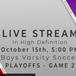 Livestream for Oct. 15 Boys Soccer game vs. Waconia!