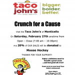 Crunch for a Cause on February 27th to help support Moose Hockey!