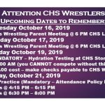 Boys & Girls Wrestling Parent Meeting Dates, Hydration Testing Date, & 1st Day of Practice Date