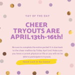CHS Varsity & JV Cheerleading Tryouts are April 13th-16th!