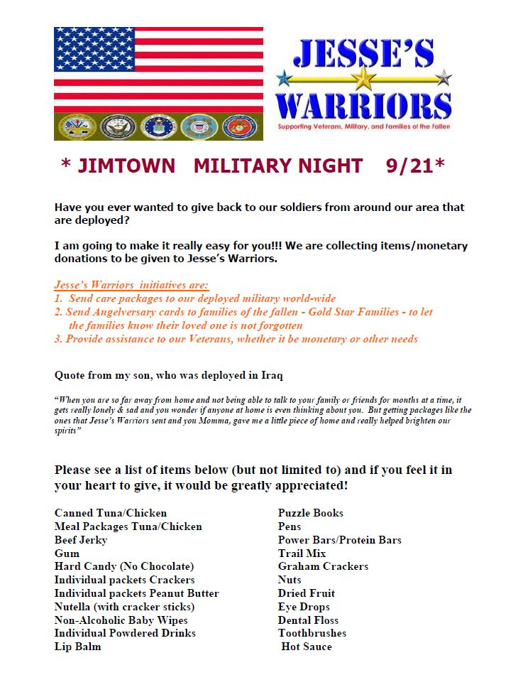 Jimtown Football Military Appreciation Night—Jessie's Warriors can Use Your Help!!