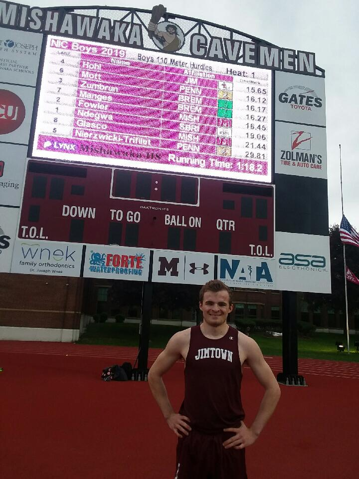 Jimtown's Alex Hohl is the NIC Hurdles Champ