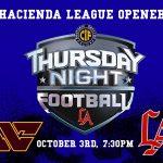 Los Altos Football Hopes to Take First Step Toward Hacienda League Title Against West Covina