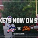 Tickets now on sale! STHS vs South Aiken, Football players in background