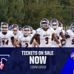 Football Players running with ST & Edisto Logo - Tickets On Sale Now