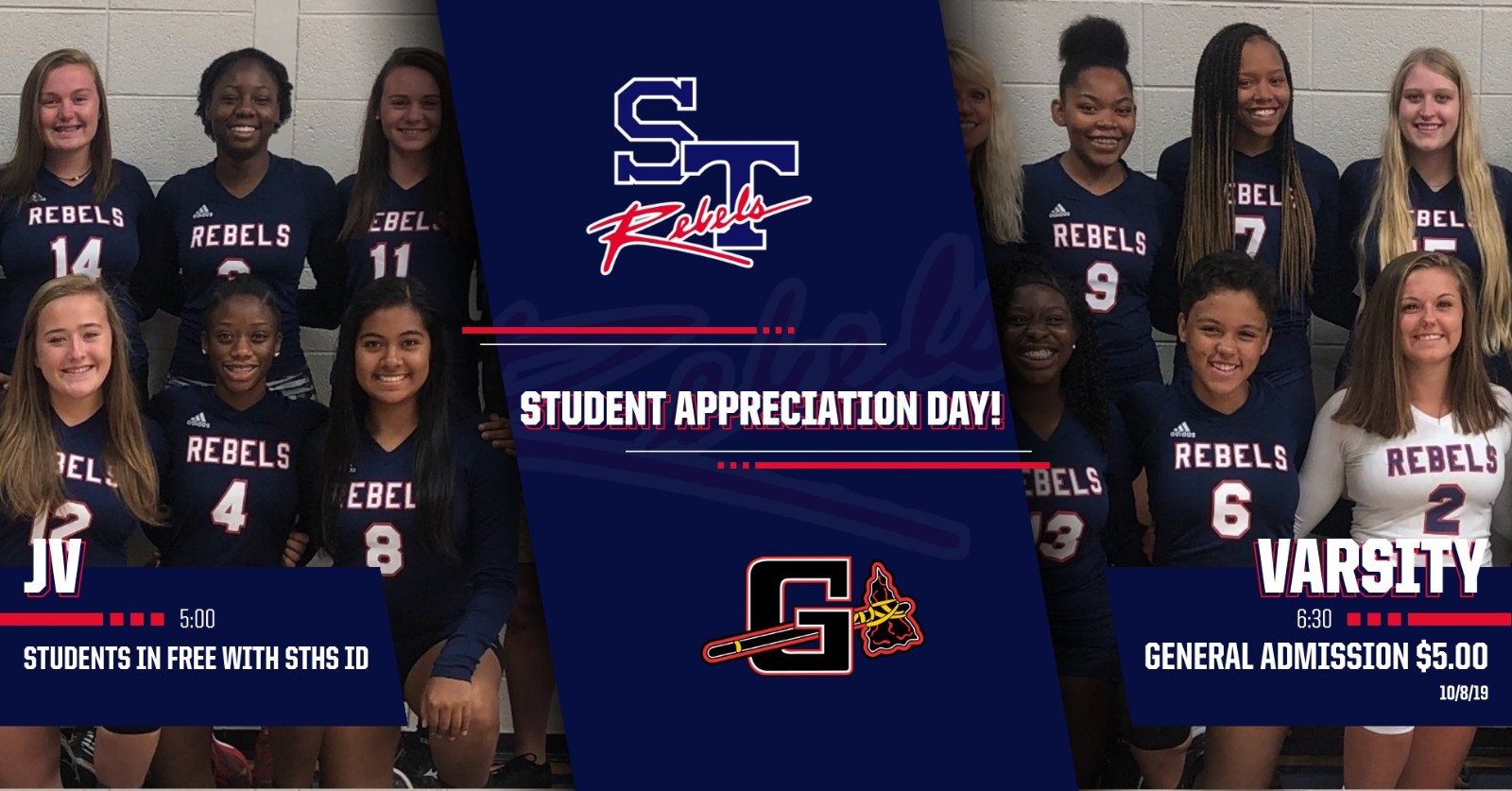 Student Appreciation Day 10/8 Free Admission to Volleyball Game with STHS Student ID