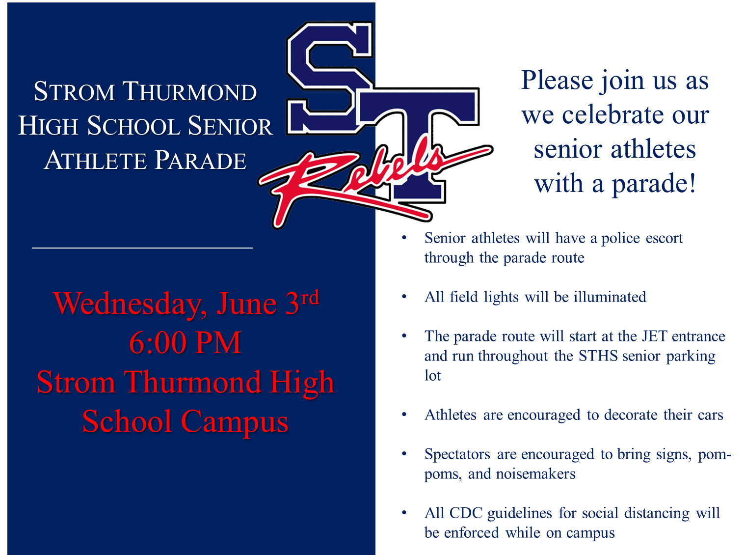 SENIOR ATHLETE PARADE JUNE 3RD 6:00 PM