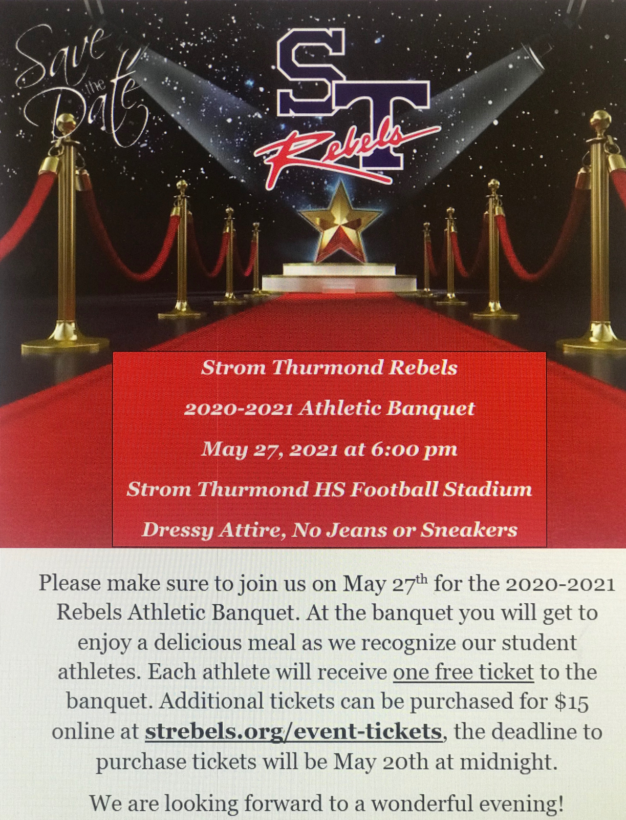 2020-2021 Strom Thurmond Rebels Athletic Banquet to take place May 27th at 6:00 pm