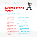 Sports this week: Aug 10-14th