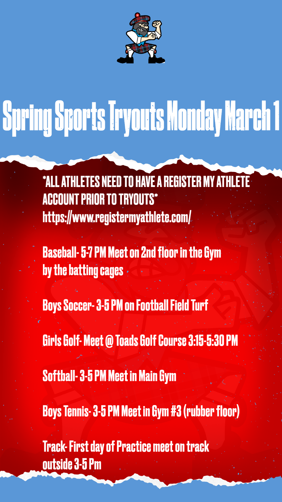 Come out for Spring Sports starting Monday March 1st!