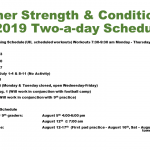 Summer Strength and Conditioning Schedule