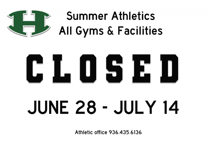 Summer Athletics – Gym and Facility Closed