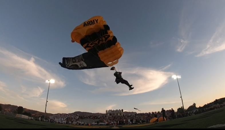 View from the Turf at the 50 Yard Line of Golden Knights Landing in the Stadium