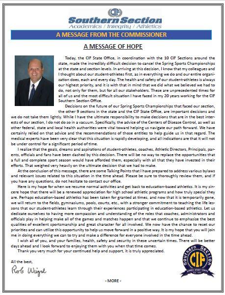 CIF Commissioner's Message Regarding Spring Sports