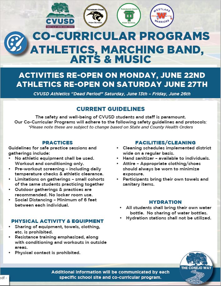 CVUSD Athletics & Activities Guidelines for Reopening
