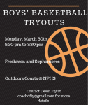 Boys Basketball Tryouts – Spring 2021