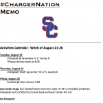Schedule for 8/21-8/25