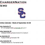 Schedule 9/25 – 9/29