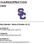 Schedule 10/16 – 10/21