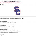 Schedule 10/23 – 10/28