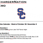 Schedule 10/30 – 11/4
