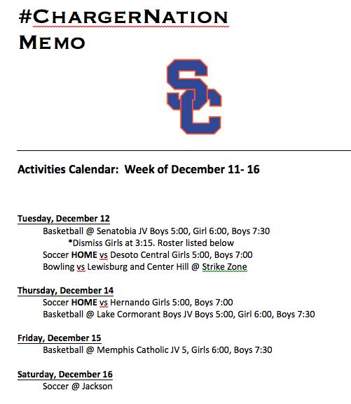 Schedule 12/11-12/16
