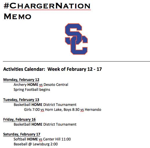 Schedule 2/12-2/17