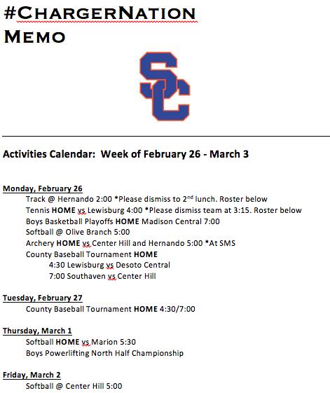 Schedule 2/26-3/3