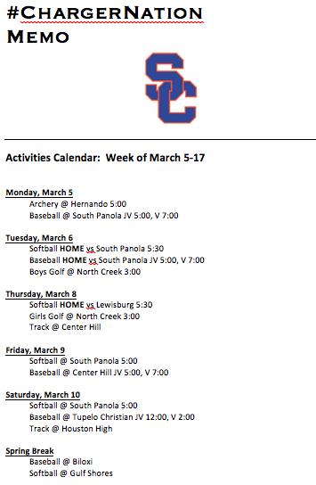 Schedule 3/5-3/17