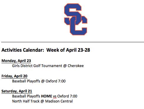 Schedule 4/23 – 4/28
