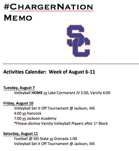 Schedule 8/6 – 8/11