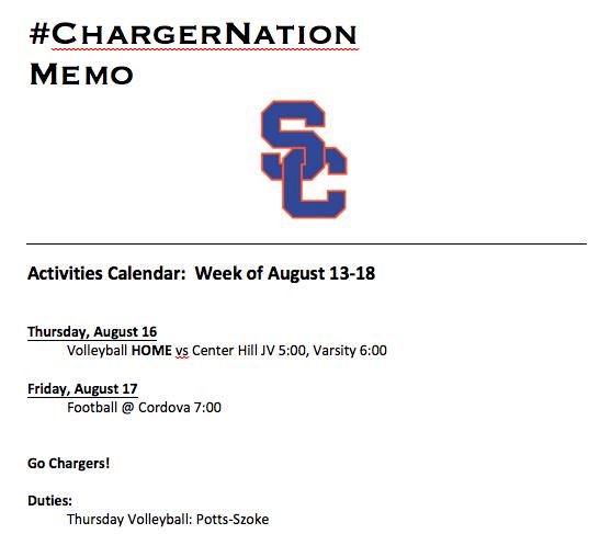 Schedule 8/13-8/17