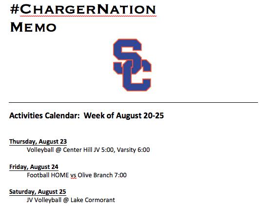Schedule 8/20-8/25