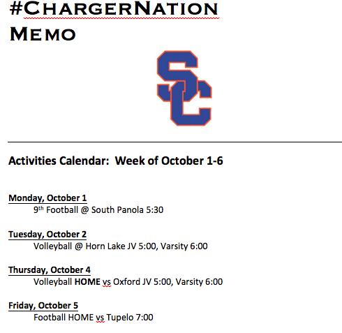 Schedule 10/1-10/6